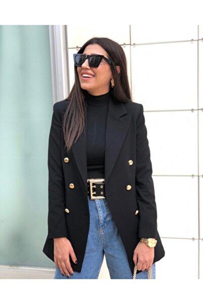 Ashley Büyük Beden Uzun Gold Düğmeli Siyah Blazer Ceket