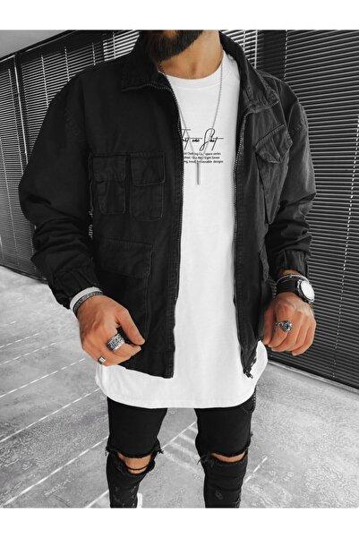 ablukaonline Erkek Siyah Pamuklu Bomber Ceket