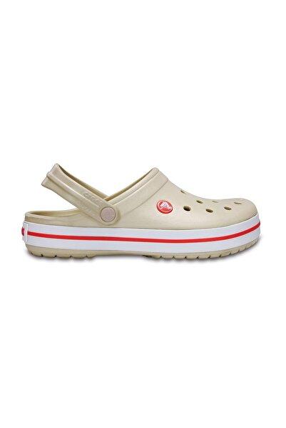 Crocs Bej Unisex Crocband Kenarı Kırmızı Beyaz Çizgili Terlik