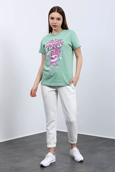 Masorte Brain Freeze Baskılı Soft Moss T-shirt