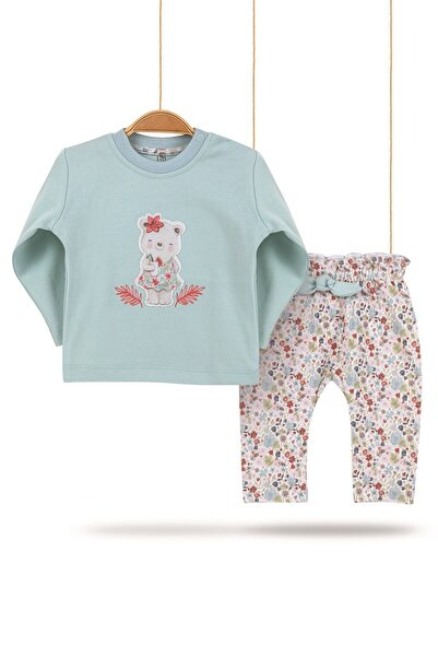 Bibaby Kız Bebek  Sweet Bear   Pamuk Alt Üst Pantolon 2li Takım