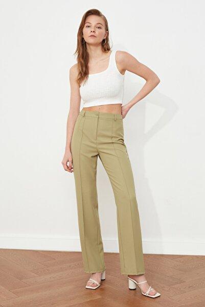 TRENDYOLMİLLA Yeşil Yüksek Bel Pantolon TWOSS21PL0093