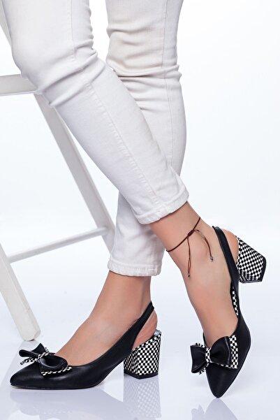 Ayakkabı Frekansı Siyah Cilt Topuklu Ayakkabı