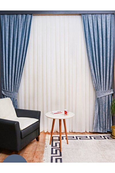 Yuka İndigo Home Truva Çift Kanat Seyrek Pile Fon Perde