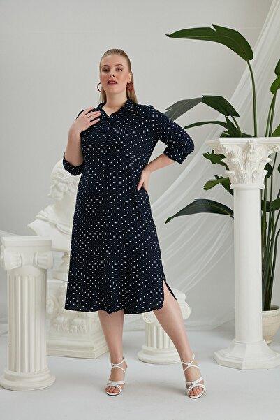 RMG Lacivert Puantiyeli Elbise