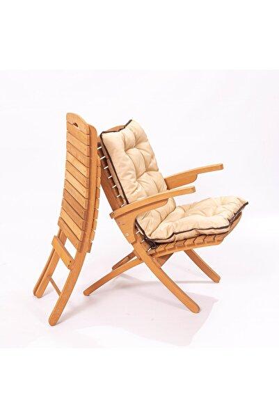 Meya Dekor Bahçe Balkon Kollu Minderli Katlanabilir Sandalye
