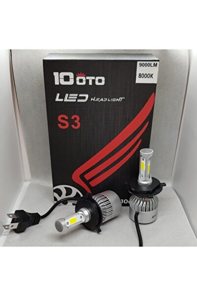 10oto H4 Led Xenon 3 Yönlü Beyaz 9000 Lümen 8000k Şimşek Etkili