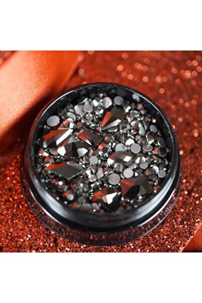 EDA LUXURY BEAUTY Gümüş Siyah Metalik Kristal Taş Lüks Parlak Gem Karışık Dekor Nail Art Dekorasyon Tasarım Süsleme