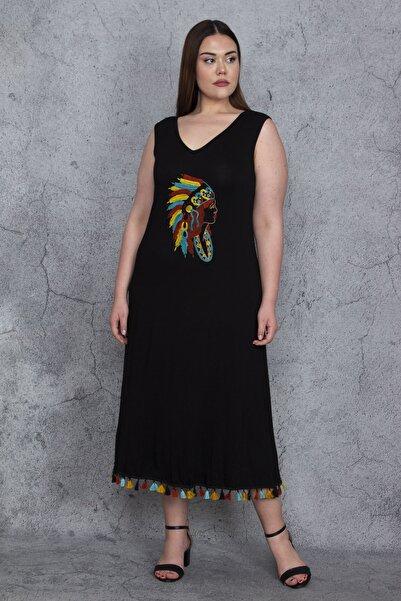 Şans Kadın Siyah Nakış Ve Etek Ucu Püskül Detaylı Kolsuz Viskon Uzun Elbise 65N23771