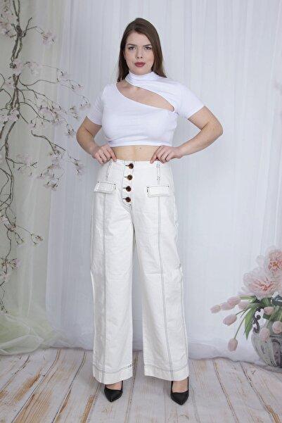 Şans Kadın Kemik Kontrast Dikiş Ve Cep Detaylı Kargo Pantolon 65N23752