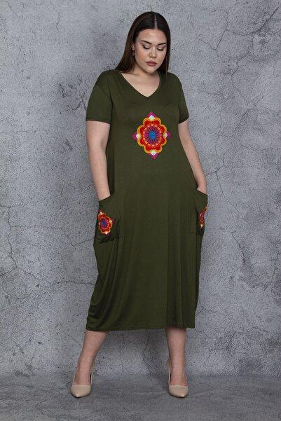 Şans Kadın Haki Nakış Detaylı Cepli Uzun Viskon Elbise 65N23766