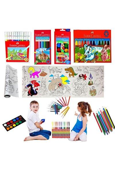 Faber Castell Yapışkanlı Resim Kağıdı + 12 Renk Pastel Boya + Sulu Boya + Kuru Boya + Keçeli Kalem