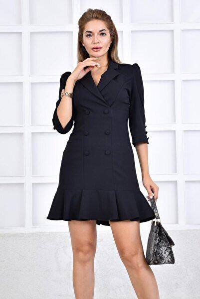 İroni Kadın Siyah Volanlı Blazer Elbise 5131-891A