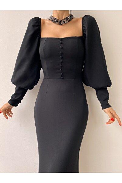 modaçelikler Siyah Düğme Detaylı Midi Boy Kalem Elbise