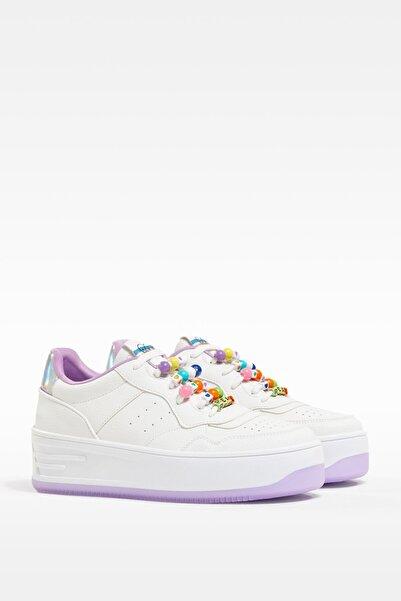 Bershka Kadın Beyaz Dekoratif Topuk Detaylı Spor Ayakkabı