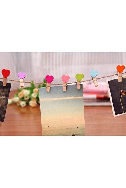 Rimmi Renkli Kalpli Minik Ahşap Fotoğraf Asma Mandalı 10 Adet 3,5 cm 1,5 mt Jüt İp
