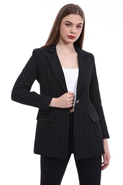 Yare Kadın Siyah Y Önü Aksesuarlı Çift Cepli Ceket Y-8489