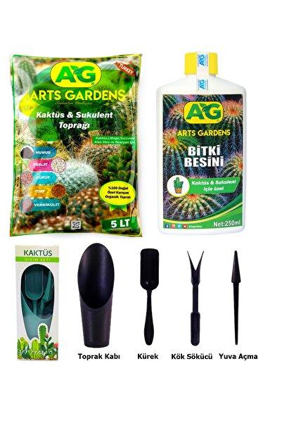 Arts Gardens Kaktüs Sukulent Bakım Seti 5l- Kaktüs Toprağı Vitamin Besini Ve 4 Parça Değişim Ve Bakım Seti