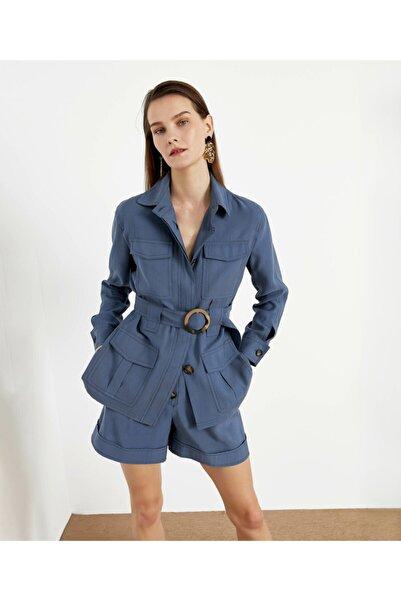 İpekyol Kadın Mavi Safari Ceket