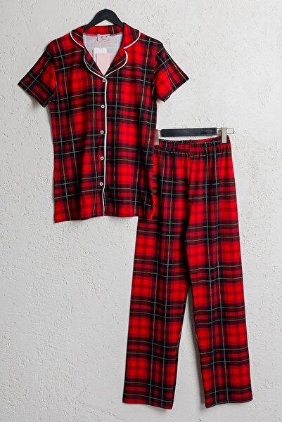 BSM Kadın Kırmızı Pamuklu Ekoseli Kısa Kol Gömlek Pijama Takımı