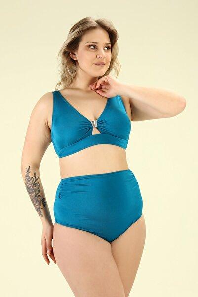 Bellisa Kadın Mavi  Battal Önden Tokalı, Korsajlı Yüksek Belli Bikini Takımı