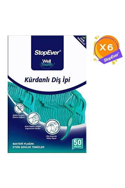 StopEver Well Tooth Kürdanlı Diş Ipi - Nane Ferahlığı - 6x50 Adet