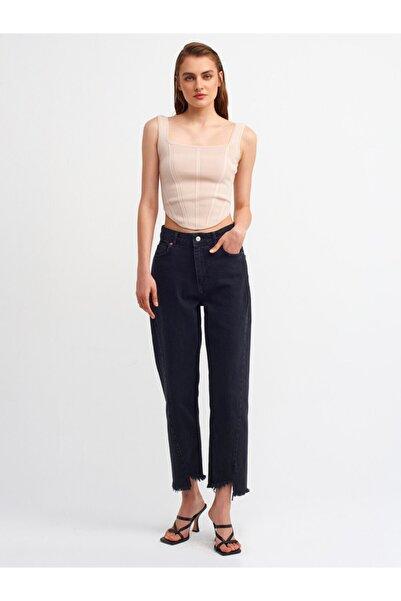 Dilvin Siyah Paçası Asimetrik Pantolon