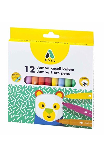 Adel Jumbo Keçeli Boya Kalemi 12 Renk Su Bazlı 3 Yaş
