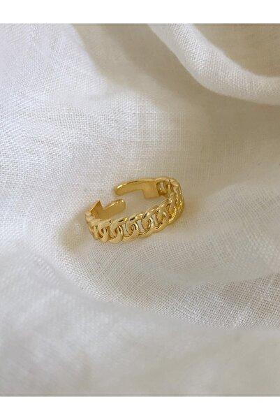 The Y Jewelry Kadın Altın Renk Ayarlanabilir Halat Yüzük