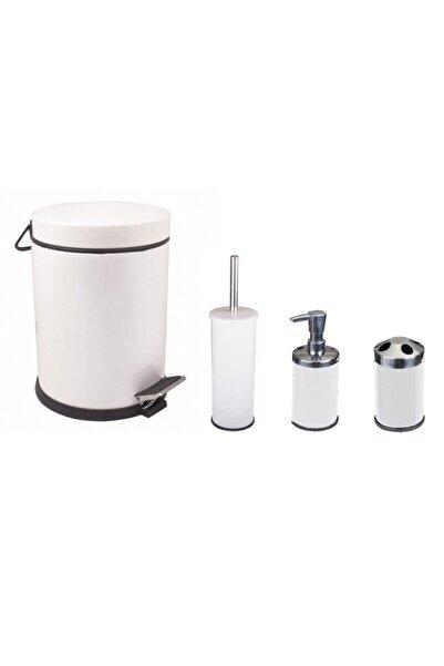 Maxiflow 4'lü Çöp Kovası Banyo Seti Beyaz