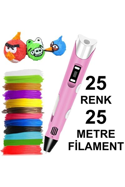 3D Pembe Kalem Yazıcı+25 Renk 25 Metre (25x1metre) Pla Filament