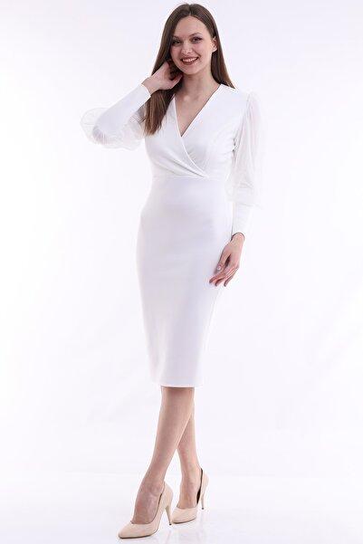Moda MiraGül Scuba Balon Kol Balık Elbise Mrg121
