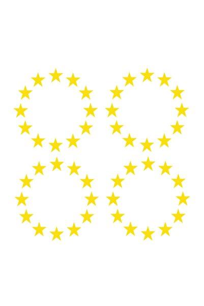 Sticker World Plaka Ab Yıldızı 4 Adet 3*3 Cm Sarı