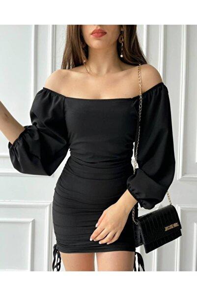 Afiş Butik Balon Kollu Siyah Elbise