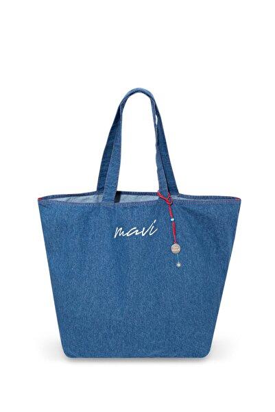Mavi Kadın terranean  Logo Baskılı Indigo Çanta 198565-18790
