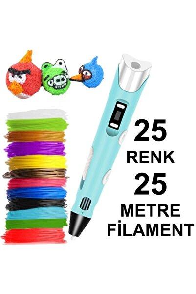 3D Mavi Kalem Yazıcı+25 Renk 25 Metre (25x1metre) Pla Filament