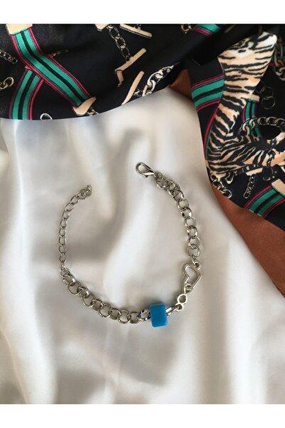 Accessories Kadın Mavi Boncuklu Zincir Bileklik Karma Figürlü Bileklik
