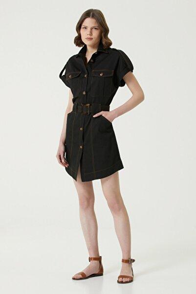 Network Kadın Slim Fit Siyah İngiliz Yaka Mini Elbise 1078964
