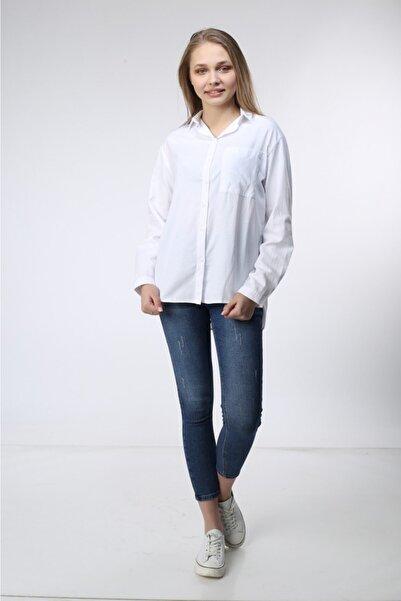 Mixray Kadın  Beyaz Tunik Gömlek