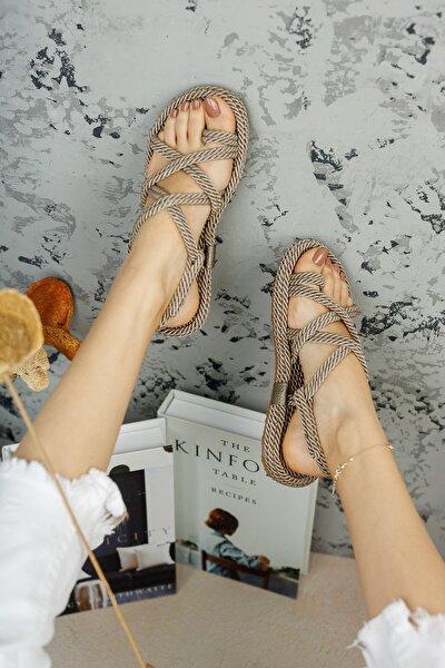 meyra'nın ayakkabıları Kadın Halat Sandelet Vizon