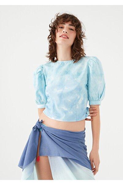 Mavi Kadın terranean Balon Kollu Batik Bluz 122867-35158