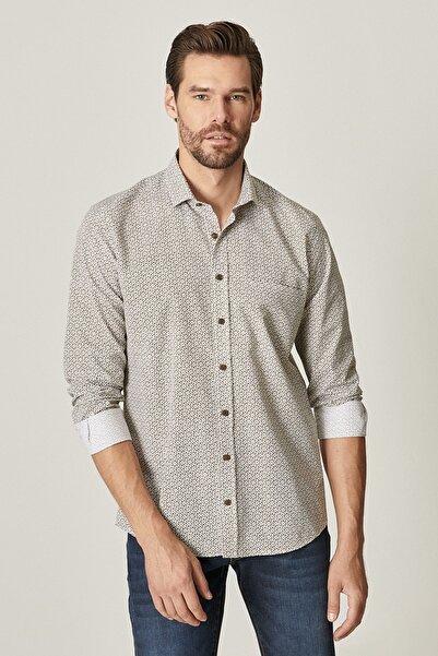 ALTINYILDIZ CLASSICS Erkek Haki Tailored Slim Fit Dar Kesim Küçük İtalyan Yaka Baskılı Gömlek