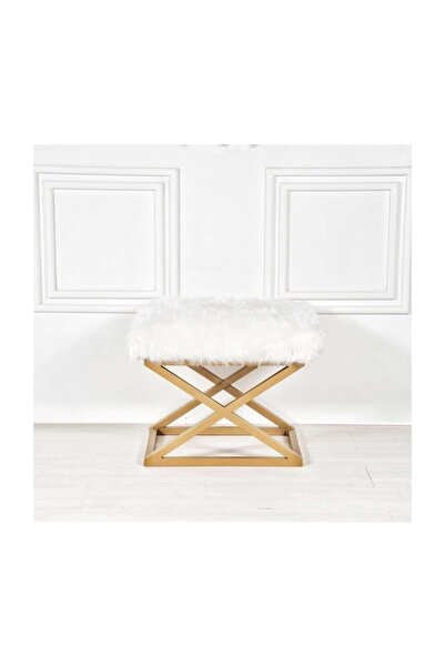 Ens decor Enshome Fora Beyaz Altın Zigzag Metal Ayaklı Peluş Puf