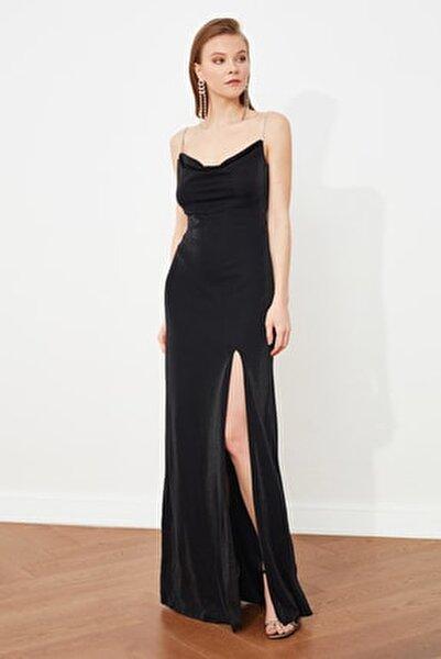 Siyah Taş  Askı Detaylı Abiye Elbise TPRSS19UT0102