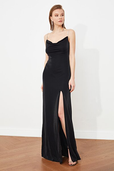 TRENDYOLMİLLA Siyah Taş  Askı Detaylı Abiye Elbise TPRSS19UT0102