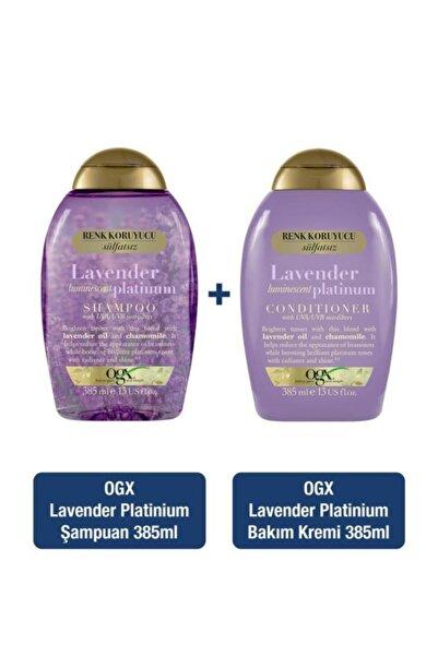 OGX Sarı Saçlar için Renk Koruyucu Lavender Platinum Sülfatsız Şampuan 385 ml + Bakım Kremi