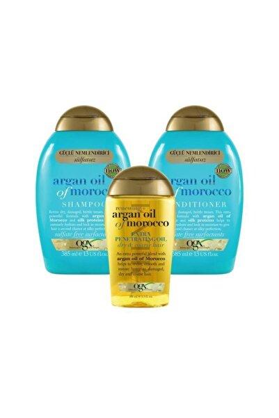 OGX Nemlendirici ve Canlandırıcı Argan Oil Morocco Sülfatsız Şampuan+Bakım Kremi 385ml+Yağ 100ml