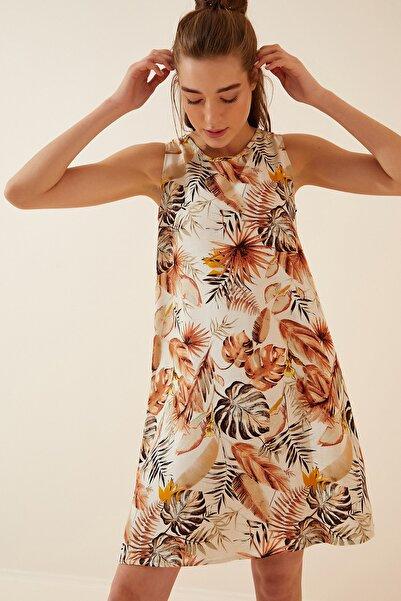 Happiness İst. Kadın Bej Desenli Keten Viskon Mini Elbise BH00343