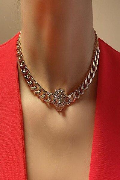Simya Design Aslan Model Choker Altın Kalın Zincir Kolye