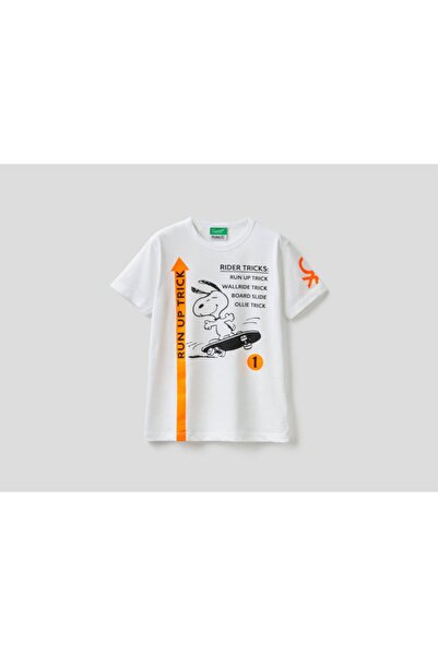 United Colors of Benetton Erkek Çocuk Beyaz Snoopy Baskılı Logolu Tshirt